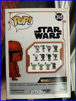 Funko Pop Star Wars Mandalorian Red Chrome #345 Special Edition Exclusive Vg USA