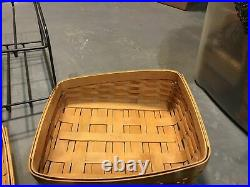 Rare Longeberger Classic Tapered Paper Tray Basket C0MB0 & Lid With Stand