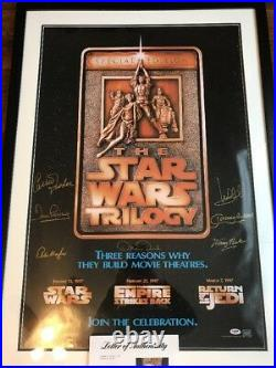 SIGNED STAR WARS SPECIAL EDITION MOVIE POSTER Carrie Fisher Mark Hamill PSA JSA