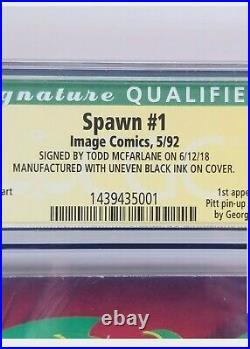 Spawn 1 Cgc 7.5 Error Uneven Black Ink Variant Signed Todd Mcfarlane 1st App Key